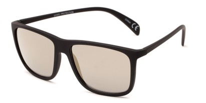 Angle of Bensley in Black Frame with Gold Mirrored Lenses, Men's Retro Square Sunglasses