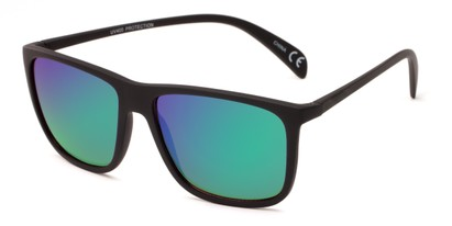 Angle of Bensley in Black Frame with Green/Purple Mirrored Lenses, Men's Retro Square Sunglasses