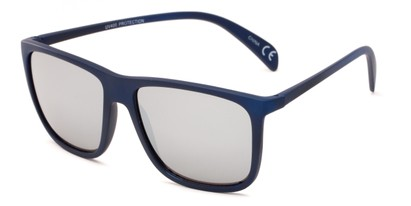 Angle of Bensley in Blue Frame with Silver Mirrored Lenses, Men's Retro Square Sunglasses