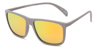 Angle of Bensley in Grey Frame with Yellow/Orange Mirrored Lenses, Men's Retro Square Sunglasses