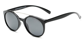 Angle of Milo #6928 in Black Frame with Grey Lenses, Women's and Men's Round Sunglasses
