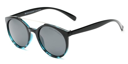 Angle of Milo #6928 in Black/Blue Frame with Grey Lenses, Women's and Men's Round Sunglasses