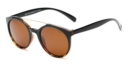 Angle of Milo #6928 in Black/Brown Frame with Amber Lenses, Women's and Men's Round Sunglasses
