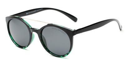 Angle of Milo #6928 in Black/Green Frame with Grey Lenses, Women's and Men's Round Sunglasses