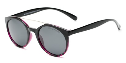Angle of Milo #6928 in Black/Purple Frame with Grey Lenses, Women's and Men's Round Sunglasses