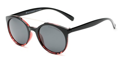 Angle of Milo #6928 in Black/Red Frame with Grey Lenses, Women's and Men's Round Sunglasses