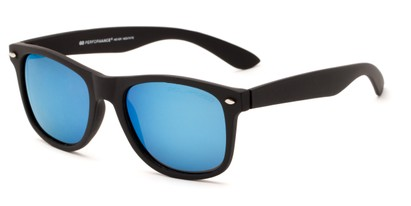 Angle of Fillmore #6932 in Matte Black Frame with Blue Mirrored Lenses, Women's and Men's Retro Square Sunglasses