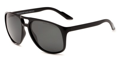 Angle of Bryce #6936 in Glossy Black Frame with Grey Lenses, Men's Aviator Sunglasses