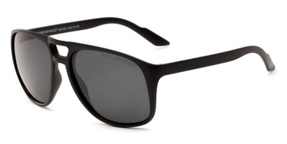 Angle of Bryce #6936 in Matte Black Frame with Grey Lenses, Men's Aviator Sunglasses