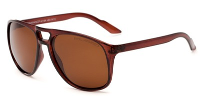 Angle of Bryce #6936 in Glossy Brown Frame with Amber Lenses, Men's Aviator Sunglasses
