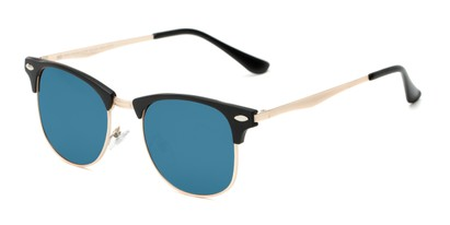 Angle of Devon #6967 in Black Frame with Blue Mirrored Lenses, Women's and Men's Browline Sunglasses