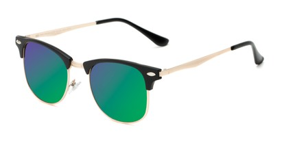 Angle of Devon #6967 in Black Frame with Green/Purple Mirrored Lenses, Women's and Men's Browline Sunglasses