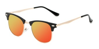 Angle of Devon #6967 in Black Frame with Orange/Yellow Mirrored Lenses, Women's and Men's Browline Sunglasses