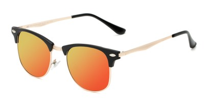 Angle of Devon in Black Frame with Orange/Yellow Mirrored Lenses, Women's and Men's Browline Sunglasses