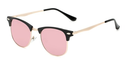 Angle of Devon #6967 in Black Frame with Pink Mirrored Lenses, Women's and Men's Browline Sunglasses
