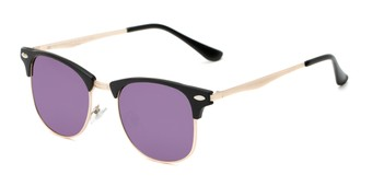 Angle of Devon in Black Frame with Purple Mirrored Lenses, Women's and Men's Browline Sunglasses