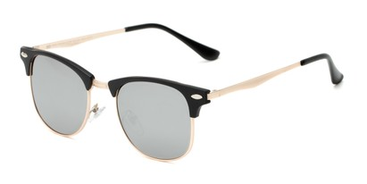 Angle of Devon #6967 in Black Frame with Silver Mirrored Lenses, Women's and Men's Browline Sunglasses