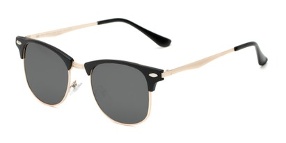 Angle of Devon #6967 in Black Frame with Grey Lenses, Women's and Men's Browline Sunglasses