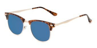 Angle of Devon #6967 in Tortoise Frame with Blue Mirrored Lenses, Women's and Men's Browline Sunglasses