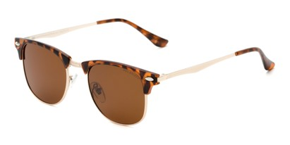 Angle of Devon #6967 in Tortoise Frame with Amber Lenses, Women's and Men's Browline Sunglasses