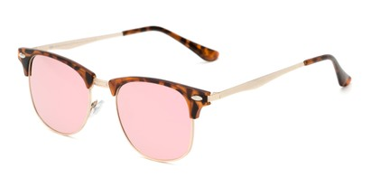 Angle of Devon #6967 in Tortoise Frame with Pink Mirrored Lenses, Women's and Men's Browline Sunglasses