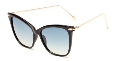 Angle of Lark #6969 in Black Frame with Blue Faded Lenses, Women's Cat Eye Sunglasses