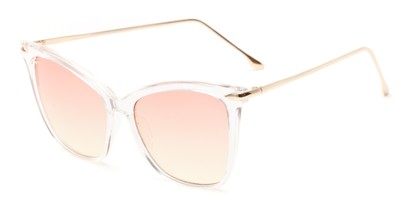 Angle of Lark #6969 in Clear Frame with Pink/Yellow Faded Lenses, Women's Cat Eye Sunglasses