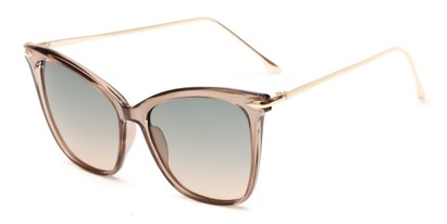Angle of Lark #6969 in Grey Frame with Green Faded Lenses, Women's Cat Eye Sunglasses