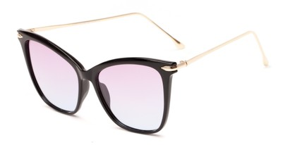 Angle of Lark #6969 in Black Frame with Purple Faded Lenses, Women's Cat Eye Sunglasses