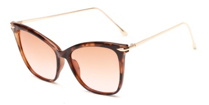 Angle of Lark #6969 in Tortoise Frame with Pink Faded Lenses, Women's Cat Eye Sunglasses