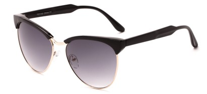 Angle of Magdalena #7021 in Black/Gold Frame with Smoke Lenses, Women's Cat Eye Sunglasses