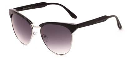 Angle of Magdalena #7021 in Black/Silver Frame with Smoke Lenses, Women's Cat Eye Sunglasses