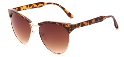 Angle of Magdalena #7021 in Tortoise/Gold Frame with Amber Lenses, Women's Cat Eye Sunglasses