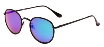 Angle of Camelot #7032 in Matte Black Frame with Green/Purple Mirrored Lenses, Women's and Men's Round Sunglasses