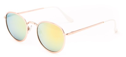 Angle of Camelot #7032 in Gold Frame with Green Mirrored Lenses, Women's and Men's Round Sunglasses