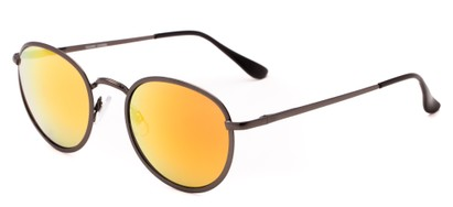 Angle of Camelot #7032 in Grey Frame with Orange Mirrored Lenses, Women's and Men's Round Sunglasses