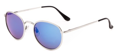 Angle of Camelot #7032 in Silver Frame with Blue Mirrored Lenses, Women's and Men's Round Sunglasses