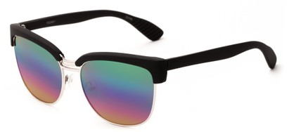 Angle of Sucre #7033 in Black/Silver Frame with Rainbow Mirrored Lenses, Women's Browline Sunglasses