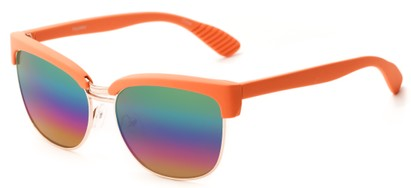 Angle of Sucre #7033 in Coral Orange/Gold Frame with Rainbow Mirrored Lenses, Women's Browline Sunglasses
