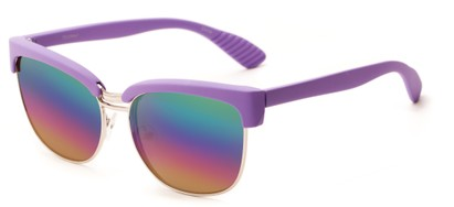 Angle of Sucre #7033 in Purple/Silver Frame with Rainbow Mirrored Lenses, Women's Browline Sunglasses