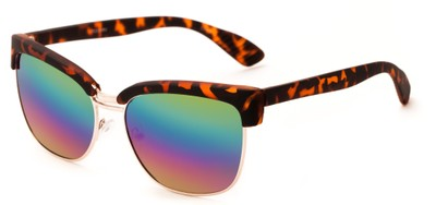 Angle of Sucre #7033 in Tortoise/Gold Frame with Rainbow Mirrored Lenses, Women's Browline Sunglasses