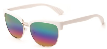 Angle of Sucre #7033 in White/Silver Frame with Rainbow Mirrored Lenses, Women's Browline Sunglasses