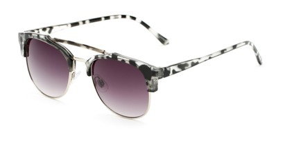 Angle of Hyde #7037 in Grey Tortoise/Silver Frame with Smoke Lenses, Women's and Men's Browline Sunglasses