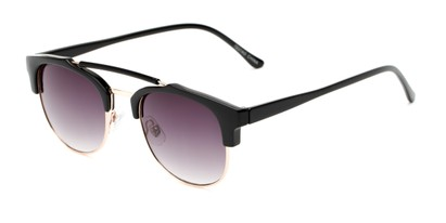 Angle of Hyde #7037 in Black/Gold Frame with Smoke Lenses, Women's and Men's Browline Sunglasses