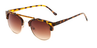 Angle of Hyde #7037 in Tortoise/Gold Frame with Amber Lenses, Women's and Men's Browline Sunglasses