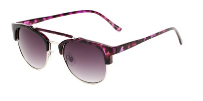 Angle of Hyde #7037 in Purple Tortoise/Silver Frame with Smoke Lenses, Women's and Men's Browline Sunglasses