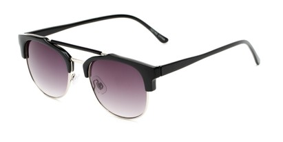 Angle of Hyde #7037 in Black/Silver Frame with Smoke Lenses, Women's and Men's Browline Sunglasses