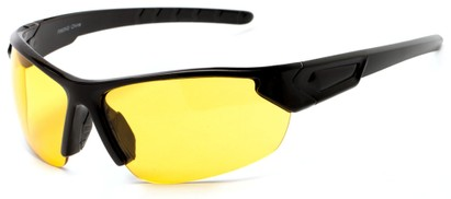 Angle of Budapest #7061 in Glossy Black Frame with Yellow Lenses, Women's and Men's Sport & Wrap-Around Sunglasses