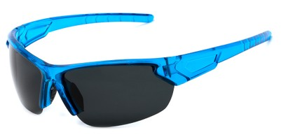 Angle of Shanghai #7060 in Blue Frame with Smoke Lenses, Men's Sport & Wrap-Around Sunglasses