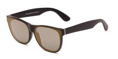 Angle of Brazen #7062 in Matte Black Frame with Gold Mirrored Lenses, Women's and Men's Retro Square Sunglasses